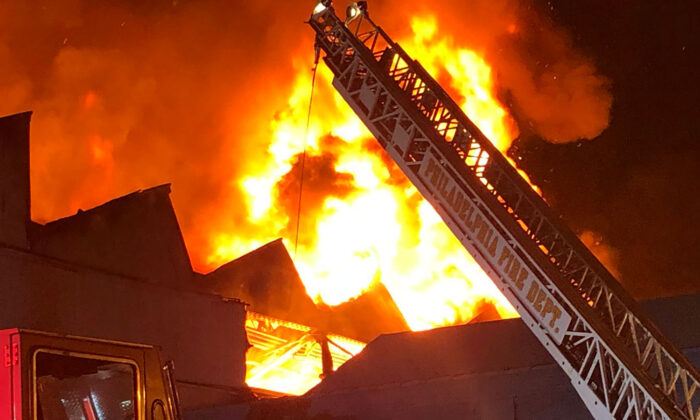 A massive six-alarm blaze at a warehouse complex in Philadelphia, Pa., on Aug. 23, 2020. (Courtesy of Philadelphia Fire Department)
