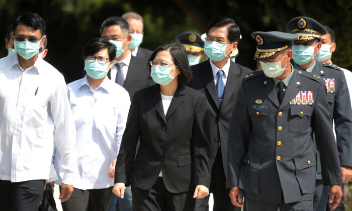 Taiwan's President Tsai Ing-wen leaves after paying her respects to the deceased during an event to mark the 62nd anniversary of the Second Taiwan Strait crisis in Kinmen, Taiwan, on Aug. 23, 2020. (Ann Wang/Reuters)