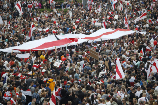 Thousands of people protest Independence square Minsk Belarus