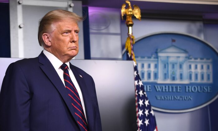 President Donald Trump during a press conference in the Press Briefing Room of the White House on Aug. 23, 2020. (Saul Loeb/AFP via Getty Images)
