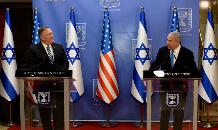 U.S. Secretary of State Mike Pompeo and Israeli Prime Minister Benjamin Netanyahu make joint statements during a news conference after a meeting in Jerusalem on Aug. 24, 2020. (Debbie Hill/Pool via Reuters)