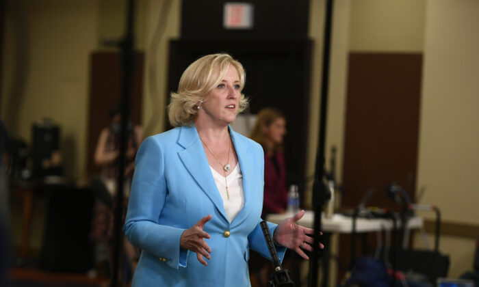 Lisa Raitt, co-chair of the Conservative leadership race, speaks during a live television broadcast to provide an update on the timing of the announcement for the new leader of the Conservative Party of Canada, as the party experiences issues with ballot counting, in Ottawa on Aug. 23, 2020. (The Canadian Press/Justin Tang)