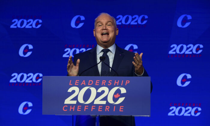 Newly elected Conservative Leader Erin O'Toole delivers his winning speech following the Conservative party of Canada 2020 Leadership Election in Ottawa on Aug. 24, 2020. (The Canadian Press/Sean Kilpatrick)