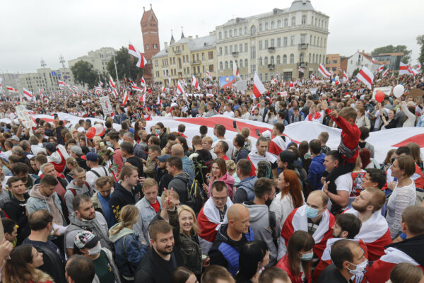 Demonstrators fill the streets of Minsk Belarus