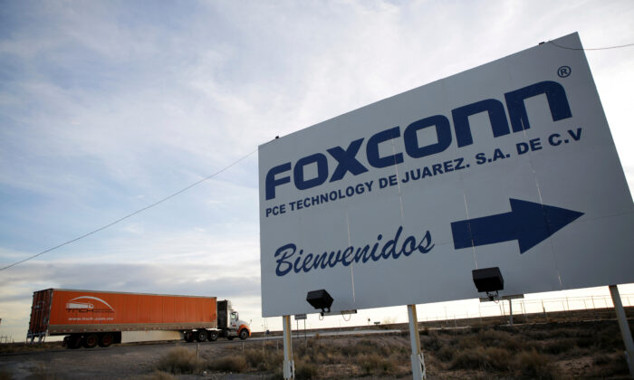A sign announces the manufacturing complex of Foxconn PCE Technology, in Ciudad Juarez, Mexico, on Feb. 6, 2020. (Jose Luis Gonzalez/File Photo/Reuters)