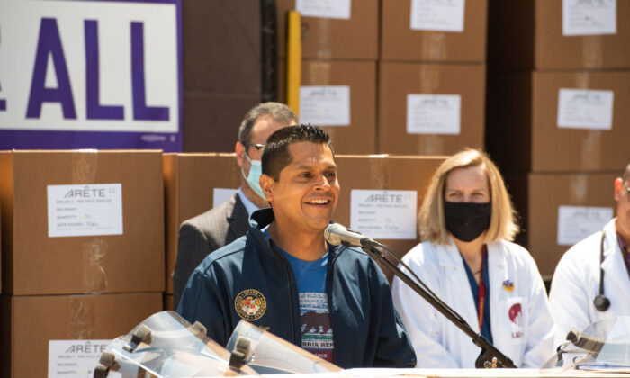 A file photo of California Assemblyman Miguel Santiago speaking at a press conference at LA County + USC Medical Center in Los Angeles, Calif., on April 14, 2020. (Presley Ann/Getty Images for Emergency Supply Donor Group)