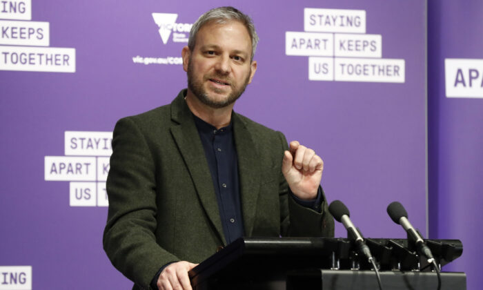Victorian Chief Health Officer Professor Brett Sutton speaks to the media at the daily briefing in Melbourne, Australia on Aug. 16, 2020. (Darrian Traynor/Getty Images)