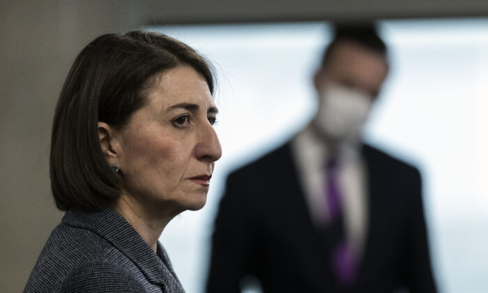 NSW Premier GladysBerejiklian speaks at a press conference in Homebush in Sydney, Australia on August 17, 2020. (Brook Mitchell/Getty Images)