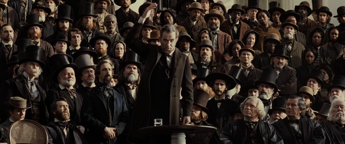 "man lecturing before a crowd in ""Lincoln"""