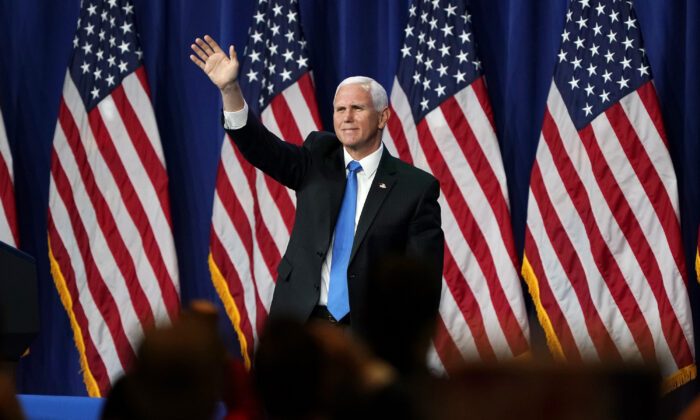 Vice President Mike Pence waves after speaking on the first day of the Republican National Convention at the Charlotte Convention Center in Charlotte, N.C., on Aug. 24, 2020. (Chris Carlson-Pool/Getty Images)