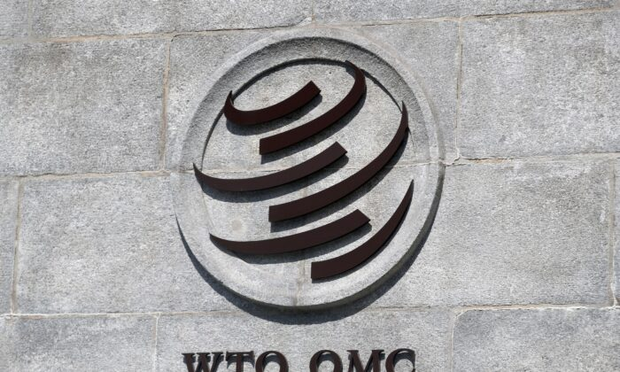 A logo is pictured on the headquarters of the World Trade Organization (WTO) in Geneva, Switzerland, June 2, 2020. (Reuters/Denis Balibouse)