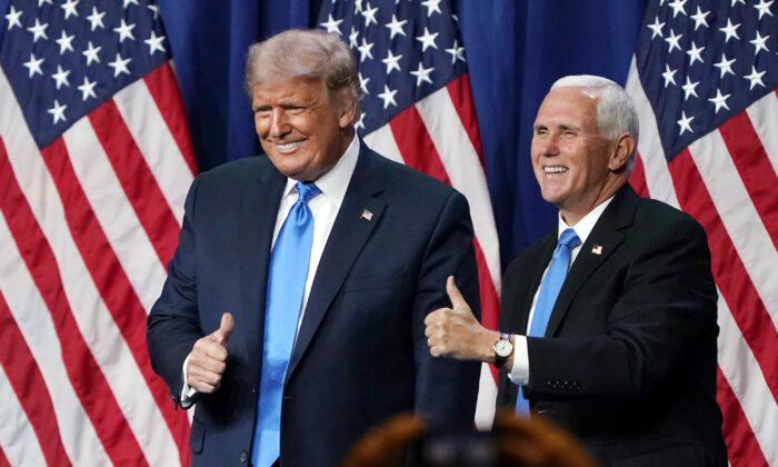 President Donald Trump (L) and Vice President Mike Pence give a thumbs up after speaking on the first day of the Republican National Convention at the Charlotte Convention Center in Charlotte, N.C., on Aug. 24, 2020. (Chris Carlson-Pool/Getty Images)