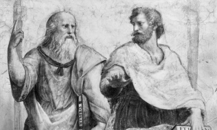Greek philosopher Plato Aristocles (427-347 BC) with the philosopher and scientist Aristotle (384-322 BC). (Picture Post/Getty Images)