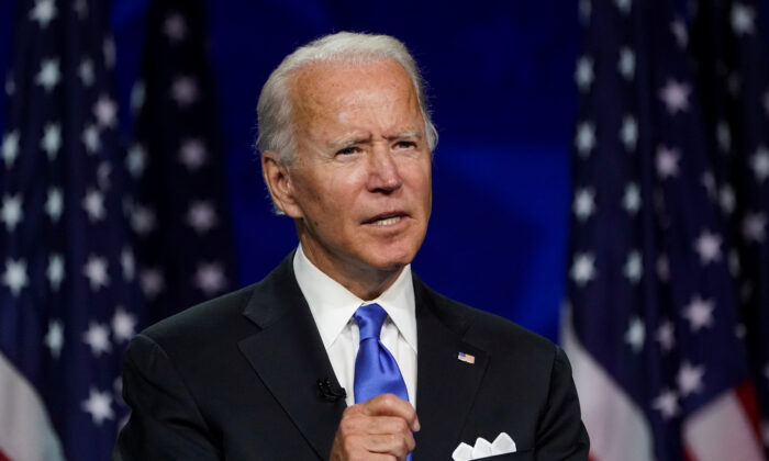 Former Vice President Joe Biden accepts the Democratic presidential nomination during a speech delivered for the largely virtual 2020 Democratic National Convention from the Chase Center in Wilmington, Del., on Aug. 20, 2020. (Kevin Lamarque/Reuters)