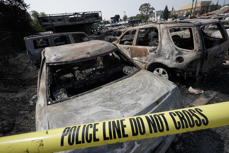 burned cars in kenosha