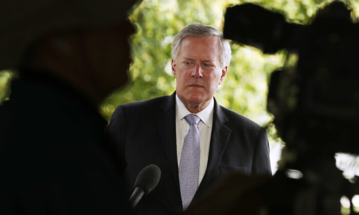 White House chief of staff Mark Meadows waits for an interview outside the White House on Aug. 21, 2020. (Chip Somodevilla/Getty Images)