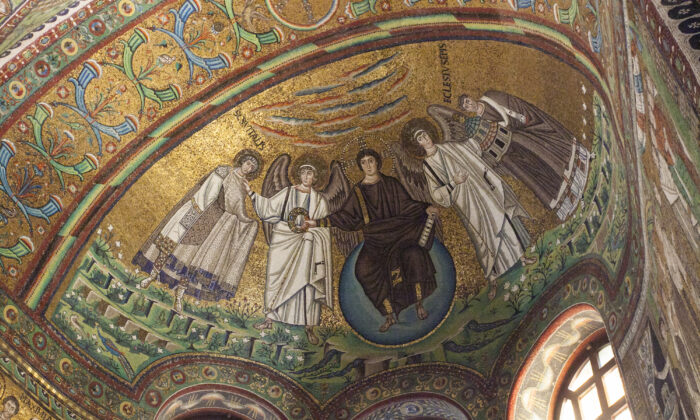 Apse mosaic in the Basilica of San Vitale, featuring (L–R) St. Vitalis, an archangel, Jesus Christ, a second archangel, and Bishop of Ravenna Ecclesius. (Channaly Philipp/The Epoch Times)