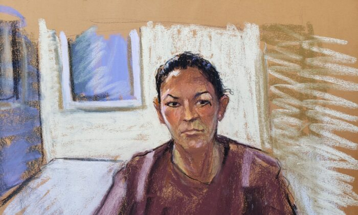 Ghislaine Maxwell's courtroom sketch when she appears via video link during her arraignment hearing where she was denied bail for her role aiding Jeffrey Epstein to recruit and eventually abuse of minor girls, in Manhattan Federal Court, in the Manhattan borough of New York City, on July 14, 2020. (Jane Rosenberg/Reuters)