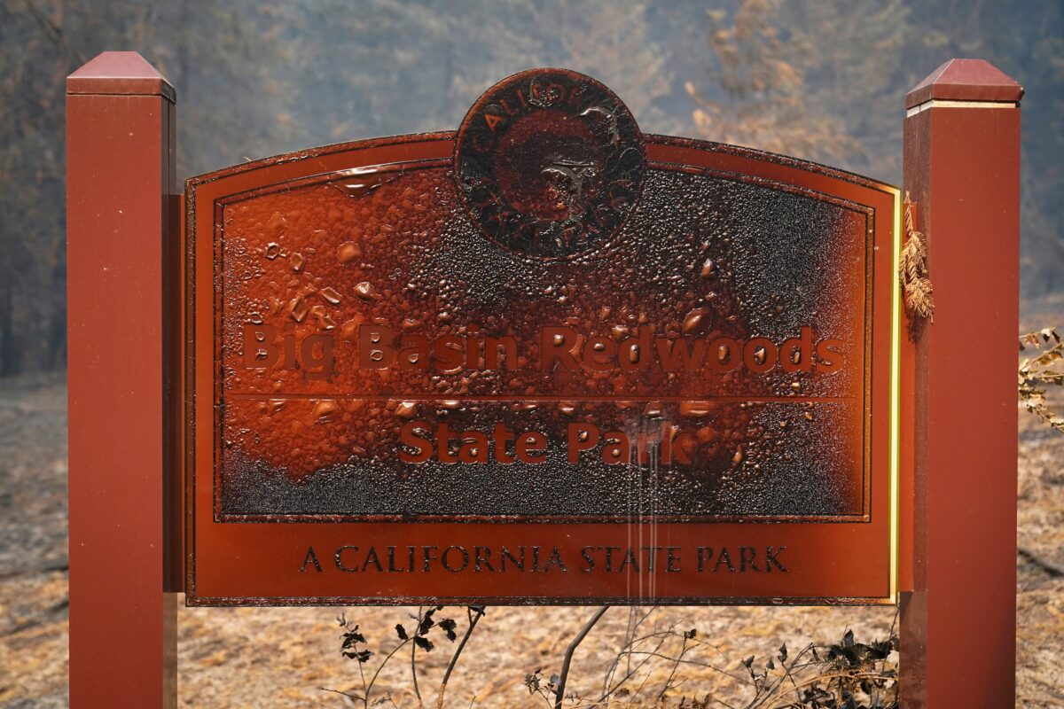 A wildfire-damaged sign welcomes visitors