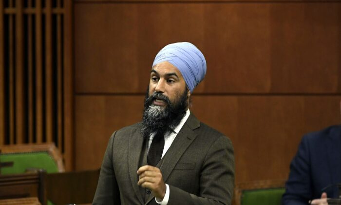 NDP Leader Jagmeet Singh rises during a meeting of the Special Committee on the COVID-19 Pandemic in the House of Commons on June 9, 2020. (The Canadian Press/Justin Tang)