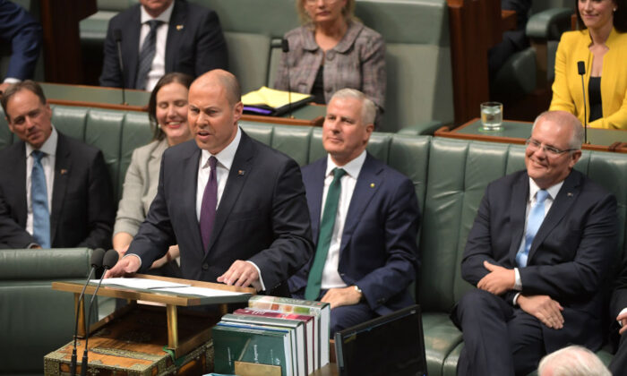 Treasurer Josh Frydenberg speaks in the House of Representatives on April 02, 2019 in Canberra, Australia. (Tracey Nearmy/Getty Images)