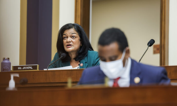 Rep. Pramila Jayapal (D-Wash.) speaks during the House Judiciary Subcommittee on Antitrust, Commercial, and Administrative Law hearing on Online Platforms and Market Power in the Rayburn House on Capitol Hill in Washington, on July 29, 2020.  (Graeme Jennings-Pool/Getty Images)