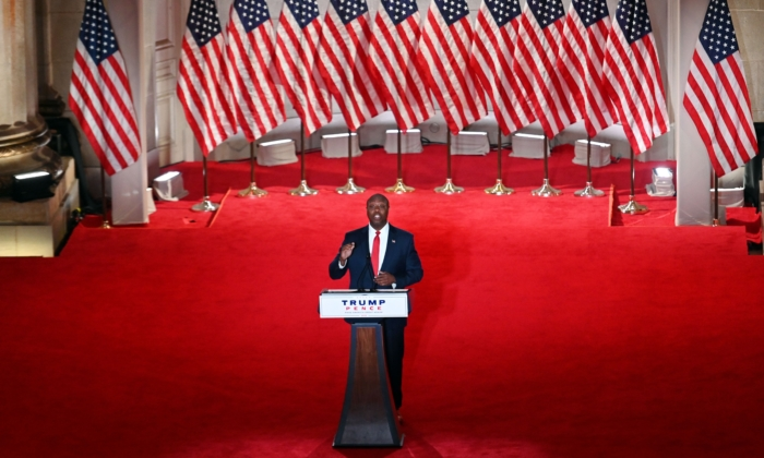 Sen. Tim Scott (R-S.C.) speaks during the first day of the Republican convention at the Mellon auditorium in Washington, D.C., on Aug. 24, 2020. (Olivier DOULIERY/AFP)