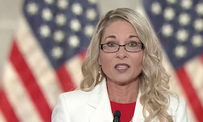 In this screenshot from the RNC's livestream of the 2020 Republican National Convention, education reform advocate and public school teacher Rebecca Friedrichs addresses the virtual convention on Aug. 24, 2020. (Photo Courtesy of the Committee on Arrangements for the 2020 Republican National Committee via Getty Images)