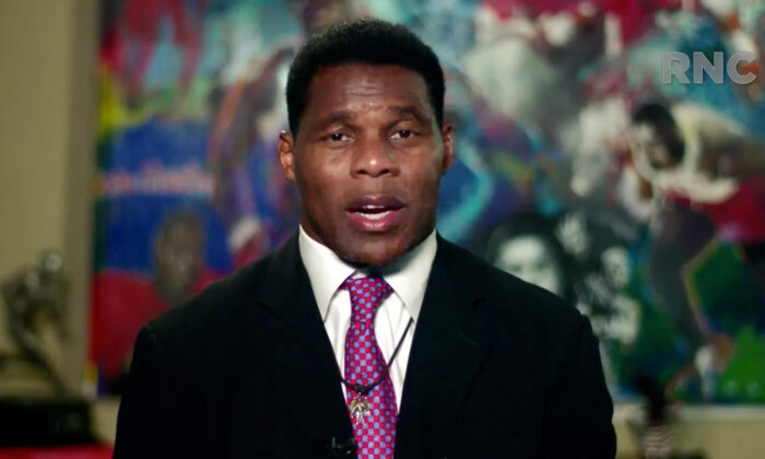In this screenshot, former NFL athlete Herschel Walker addresses the 2020 Republican National Convention on Aug. 24, 2020. (Courtesy of the Committee on Arrangements for the 2020 Republican National Committee via Getty Images)