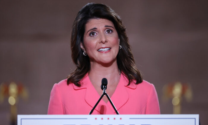 Former U.S. Ambassador to the United Nations Nikki Haley at the Mellon Auditorium in Washington while addressing the Republican National Convention on August 24, 2020. (Chip Somodevilla/Getty Images)