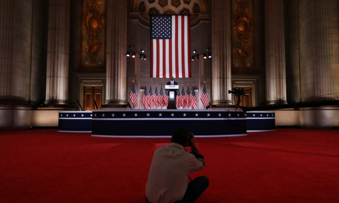 Sen. Tim Scott (R-SC) stands on stage in an empty Mellon Auditorium while addressing the Republican National Convention at the Mellon Auditorium in Washington on Aug. 24, 2020. (Chip Somodevilla/Getty Images)