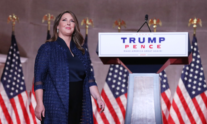 Chair of the Republican National Committee Ronna McDaniel stands on stage while addressing the Republican National Convention at the Mellon Auditorium in Washington on Aug. 24, 2020. (Chip Somodevilla/Getty Images)