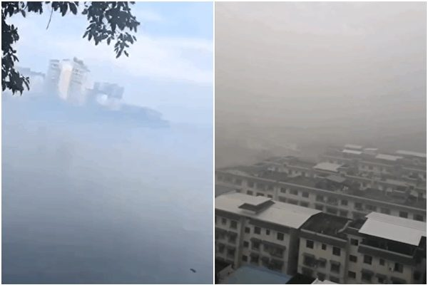 A gas leak occurred in the Wutongqiao district of Leshan, Sichuan, and the entire district was enveloped in thick fog on Aug. 18, 2020. (Provided by interviewee)
