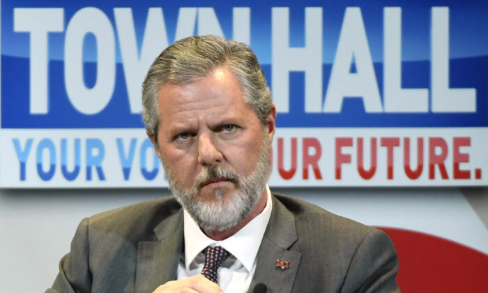 Liberty University President Jerry Falwell Jr. takes part in a town hall with First Lady Melania Trump in Las Vegas, Nev., on March 5, 2019. (Ethan Miller/Getty Images)