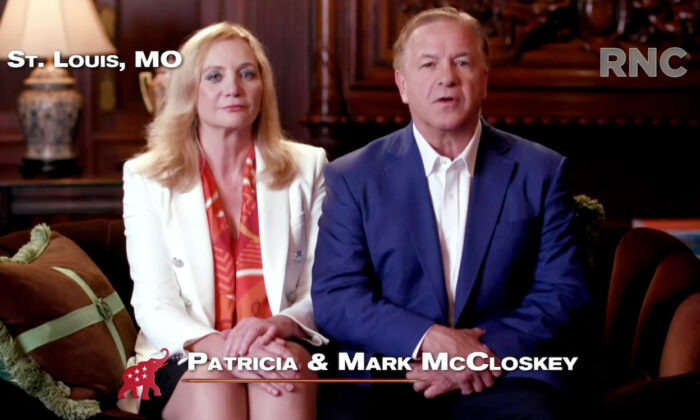 In this screenshot from the RNC's livestream of the 2020 Republican National Convention, Patricia and Mark McCloskey, a couple from St. Louis who pointed guns at Black Lives Matter protesters, address the virtual convention in a pre-recorded video on Aug. 24, 2020. (Courtesy of the Committee on Arrangements for the 2020 Republican National Committee via Getty Images)