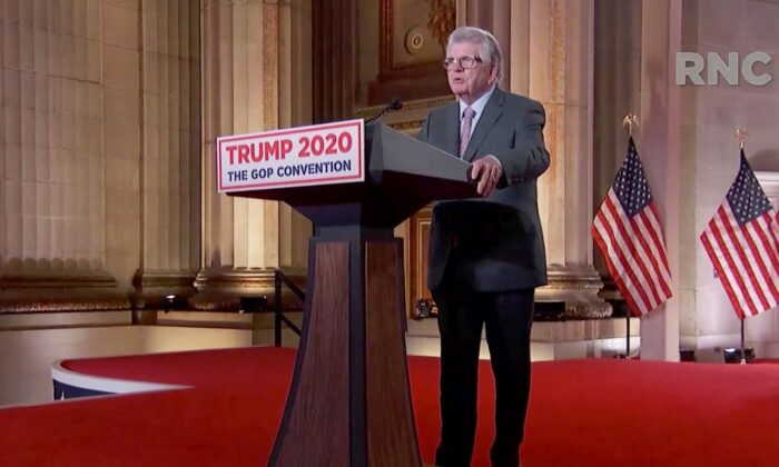 In this screenshot from the RNC's livestream of the 2020 Republican National Convention, Maximo Alvarez, founder of Sunshine Gasoline, addresses the virtual convention on August 24, 2020. (The Committee on Arrangements for the 2020 Republican National Committee via Getty Images)