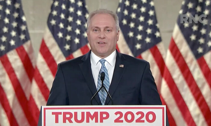 In this screenshot from the RNC's livestream of the 2020 Republican National Convention, U.S. House Minority Whip Rep. Steve Scalise (R-La.) addresses the virtual convention on Aug. 24, 2020. (Courtesy of the Committee on Arrangements for the 2020 Republican National Committee via Getty Images)