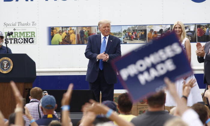 President Donald Trump speaks at Flavor 1st Growers & Packers in Mills River, North Carolina, on Aug. 24, 2020. (Brian Blanco/Getty Images)