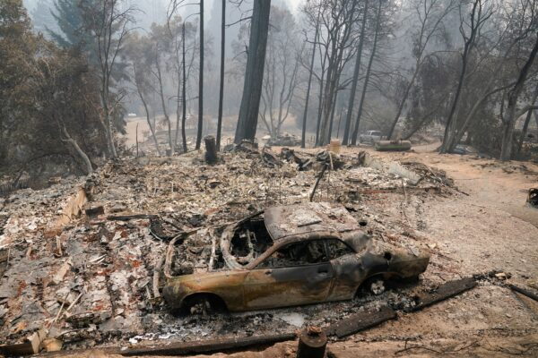A fire-ravaged neighborhood is seen in Boulder Creek,