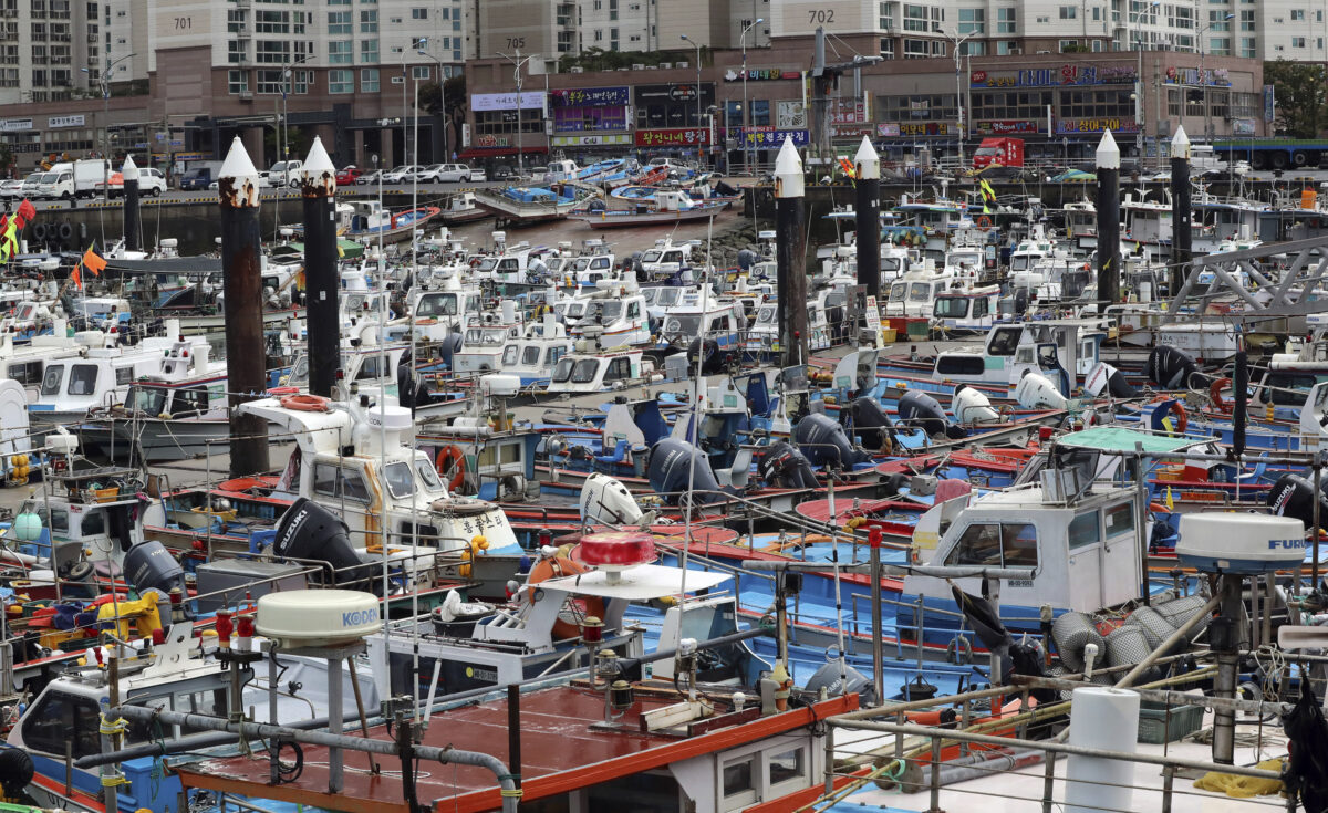 Fishing boats are tied at a port in Mokpo,