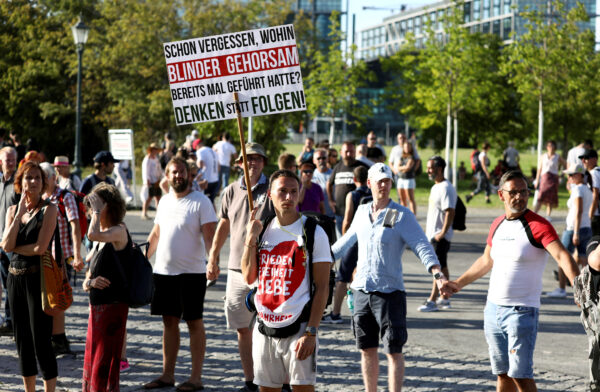 Germans protest against coronavirus curbs