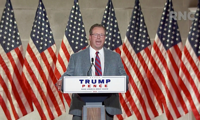 In this screenshot from the RNC's livestream of the 2020 Republican National Convention, John Peterson, owner and chief executive of metal fabricator Schuette Metals, addresses the virtual convention on Aug. 25, 2020. (Courtesy of the Committee on Arrangements for the 2020 Republican National Committee via Getty Images)