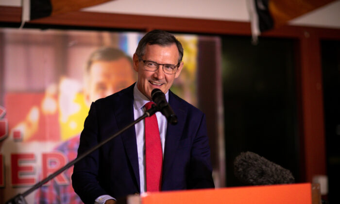 Northern Territory Chief Minister Michael Gunner addresses supporters at Labor's election headquarters in Darwin, Australia, on Aug. 22, 2020. (AAP Image/Charlie Bliss)