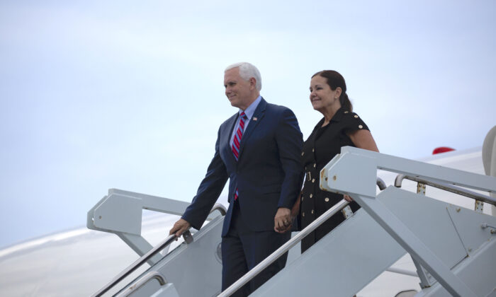 Vice President Mike Pence and Second Lady Karen Pence arrive at Cape Canaveral Air Force Station for the launch of the SpaceX Falcon 9 rocket with the manned Crew Dragon spacecraft on launch pad 39A at the Kennedy Space Center in Cape Canaveral, Fla., on May 30, 2020. (Saul Martinez/Getty Images)