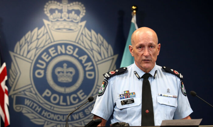 Queensland Deputy police Commissioner Steve Gollschewski speaks at a press conference at Police headquarters on March 25, 2020 in Brisbane, Australia. (Jono Searle/Getty Images)
