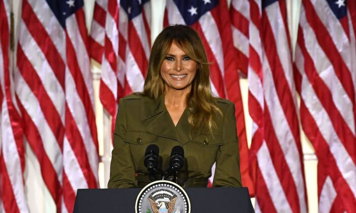 First Lady Melania Trump addresses the Republican Convention during its second day from the Rose Garden of the White House in Washington on Aug. 25, 2020. (Brendan Smialowski/AFP via Getty Images)