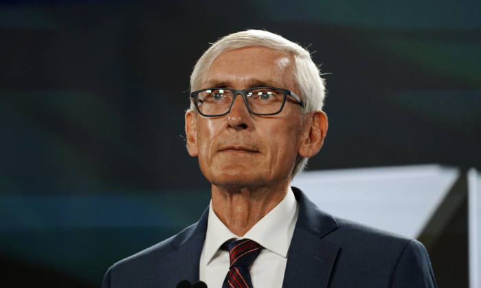 Wisconsin Gov. Tony Evers waits to address the virtual Democratic National Convention from Milwaukee, on Aug. 19, 2020. (Melina Mara/Pool/Getty Images)