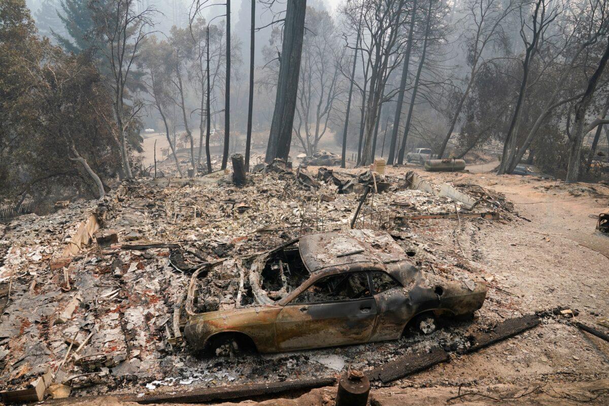 A fire-ravaged neighborhood is seen in Boulder Creek