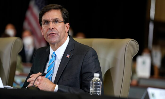 Defense Secretary Mark Esper speaks during a briefing on counternarcotics operations at U.S. Southern Command in Doral, Fla., on July 10, 2020. (Evan Vucci via AP Photo)