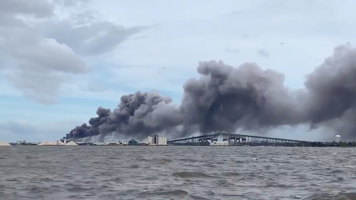Smoke rises over Lake Charles